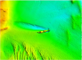 Bathymetry of wreck area