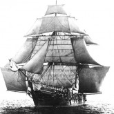The Bark rigged ship Monongahela under full sail in a light breeze. Serving as U.S. Naval Academy Practice Ship in the mid-1890s
